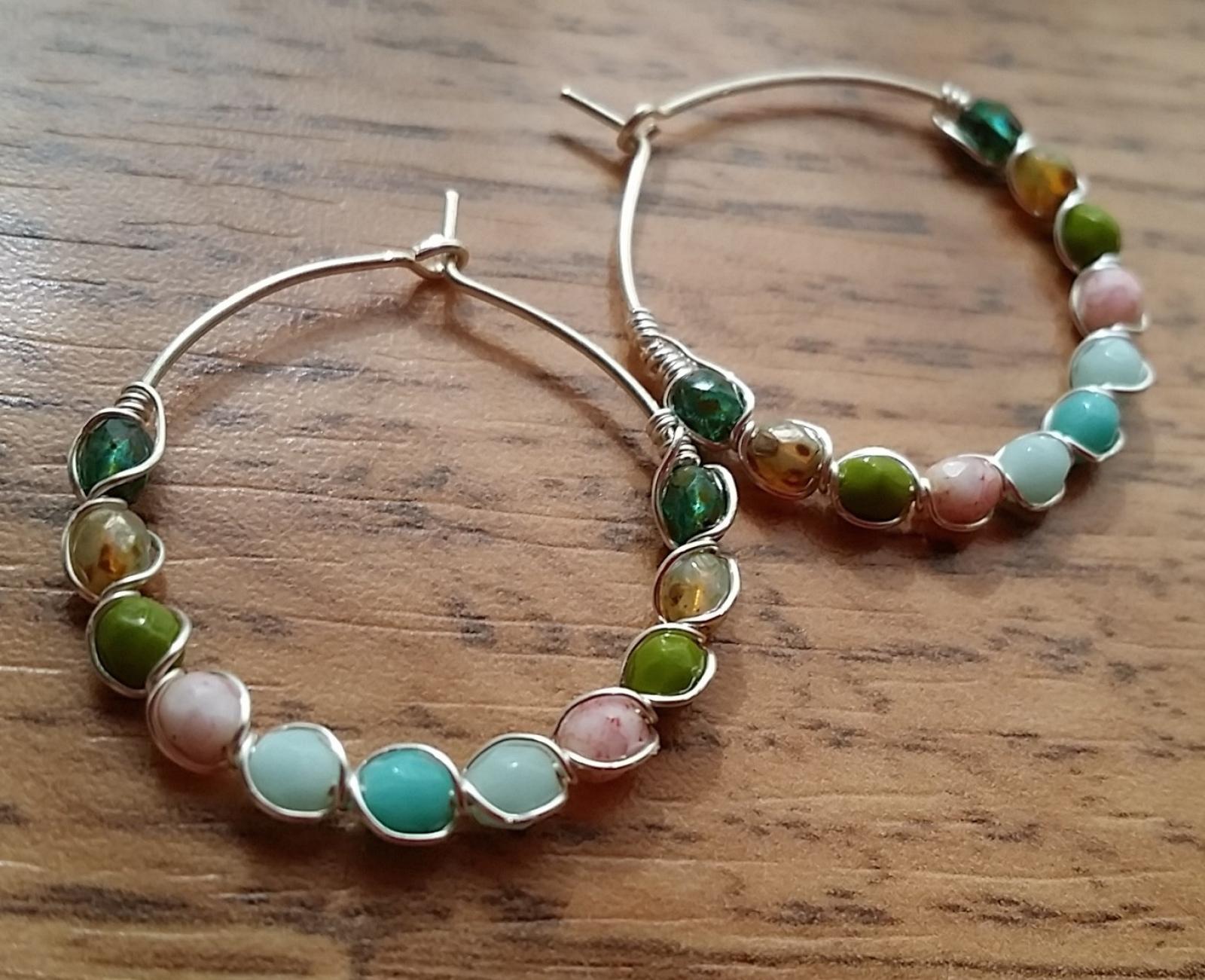 Multi Colored Czech Glass Beaded Hoop Earrings Buy Happiness