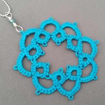 Caribbean Blue Tatted Lace Pendant Necklace