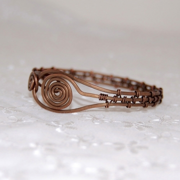 Spiral Wire-Weaved Copper Bangle