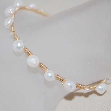 Freshwater Pearl and 14K Gold Filled Wire-Wrapped Bangle ~ Pearly Girly Bracelet