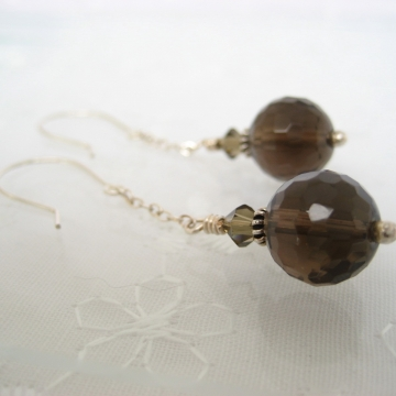 Smoky Quartz and Sterling Silver ~ Hot Coffee Earrings