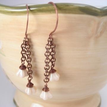 Creamy Czech Glass Flower Copper Dangle Earrings