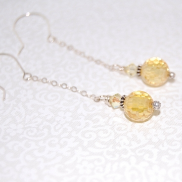 Faceted Yellow Cubic Zirconia Drops and Sterling Silver ~ Golden Earrings