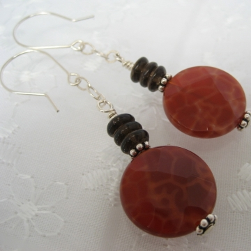 Fire Agate, Smoky Quartz and Sterling Silver ~ Hypnotic Earrings