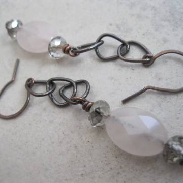 Rose Quartz and Oxidized Copper ~ Peaceful Day Earrings