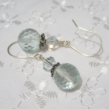 Aqua Glass Quartz, Swarovski Crystal, Bali and Sterling Silver ~ Sparkle Earrings