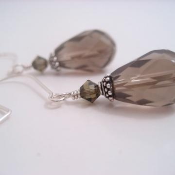 Smoky Quartz Teardrop and Sterling Silver Earrings