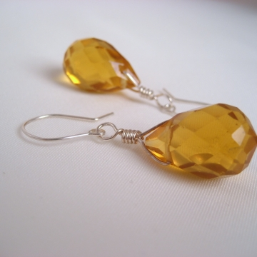 Topaz Yellow Faceted Glass Teardrops ~ Citrus Delight Earrings