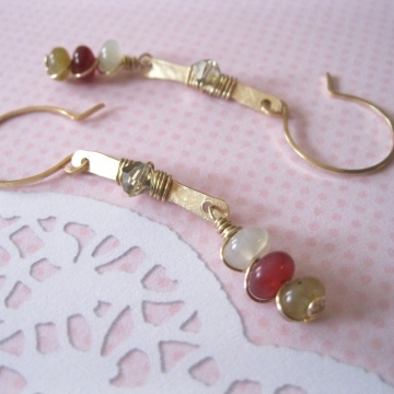 Shiny Brass Bar Rainbow Soocho Jade Earrings