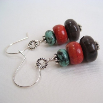 African Turquoise, Coffee Jasper, Red Sponge Coral and Sterling Silver ~ Serenata Rondelle Trio Earrings