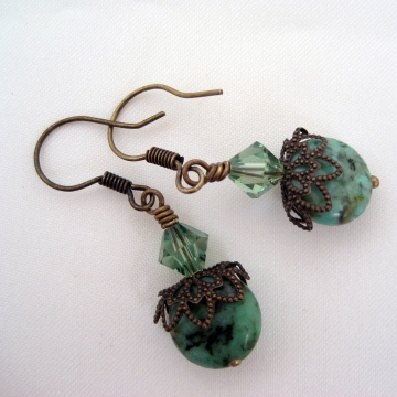 African Turquoise with Swarovski Crystals ~ Black Sea Antiqued Brass Earrings