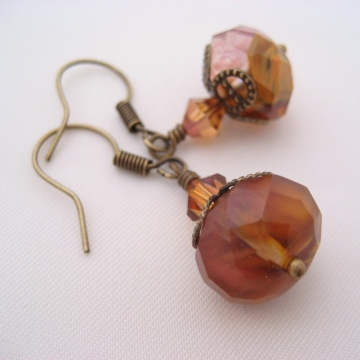 Golden Strawberry Quartz and Antiqued Brass ~ Fire Earrings