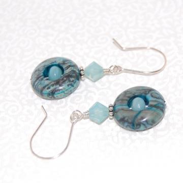 Blue Mexican Zebra Jasper, Amazonite, Swarovski Crystals and Sterling Silver ~ Orb Earrings