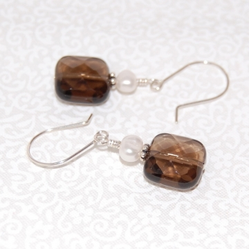 Smoky Quartz, Freshwater Pearls, and Sterling Silver ~ Chic Earrings