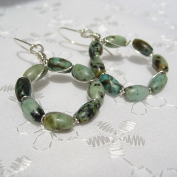 African Turquoise and Silver Hoops ~ Mysterious Earrings