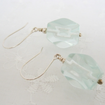 Aqua Glass Quartz and Sterling Silver ~ Nugget Earrings