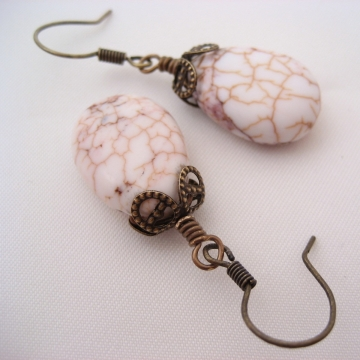White Howlite and Antiqued Brass ~ Crackle Earrings