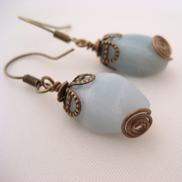 Amazonite and Antiqued Brass ~ Powder Earrings