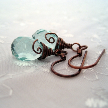 Aqua Glass Quartz and Copper ~ Tranquil Earrings