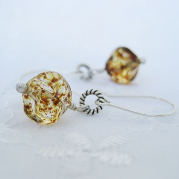 Czech Glass and Sterling Silver ~ Speckle Earrings