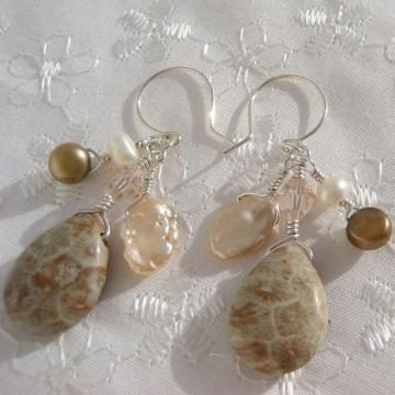 Sea Fossil (Petoskey stone), Freshwater Pearls, Keishi Pearls, Sterling Silver ~ Sea Dangles Earrings