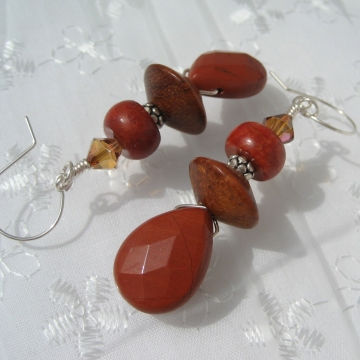Red Jasper, Sponge Coral, Bayong Wood, Crystals and Sterling Silver ~ Cheerful Earrings