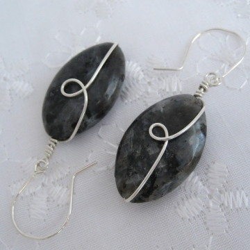 Larvikite (Black Labradorite) and Silver ~ Chatoyancy Earrings
