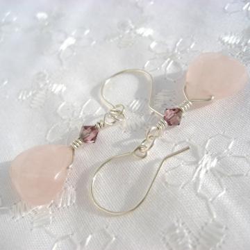 Rose Quartz, Satin Swarovski Crystals and Sterling Silver ~ Sweet Satin Earrings