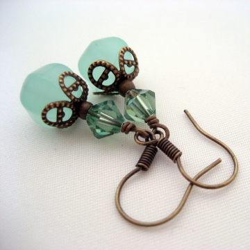 Synthetic Chalcedony, Swarovski Crystals and Antiqued Brass ~ Aqua Love Earrings