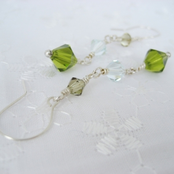 Swarovski Crystal Trio with Sterling Silver ~ Spring Swing Earrings