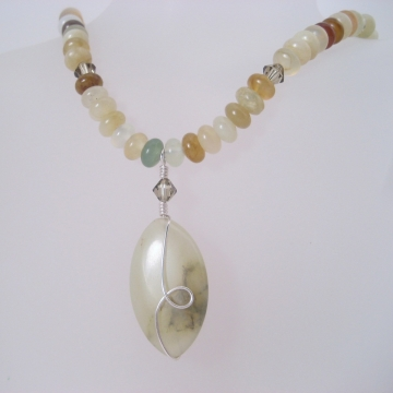 Soocho Jade, Swarovski Crystals and Sterling Silver ~ Taonga Necklace