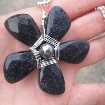 Blue Goldstone Teardrop Sparkly Beaded Flower Pendant Necklace