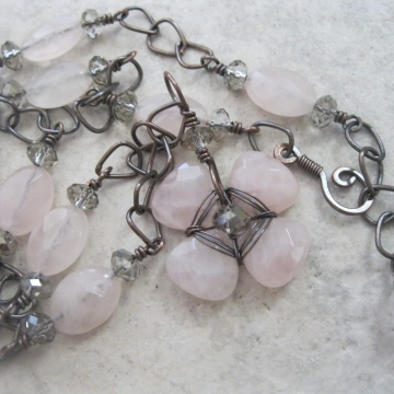Rose Quartz and Oxidized Copper Teardrop Flower ~ Peaceful Day Necklace