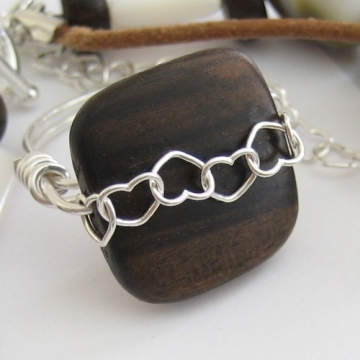 Sterling Silver Hearts and Tiger Ebony ~ Grrr Wooden Bead Ring Made In Your Size