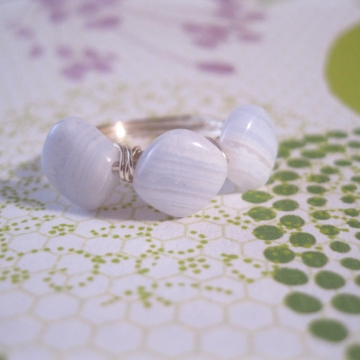Blue Lace Agate Triple Bead Ring