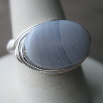 Blue Lace Agate Oval Ring