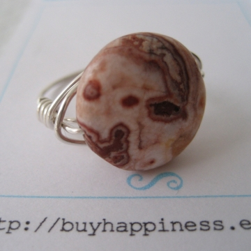 Rosetta Lace Agate Puff Coin Ring ~ Pick your stone and ring size