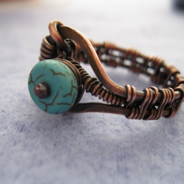 Controlled Chaos Copper Wire-Wrapped Ring with Turquoise Colored Rondelle