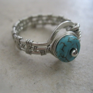 Controlled Chaos Silver Zebra Wire Wire-Wrapped Ring with Turquoise Colored Rondelle