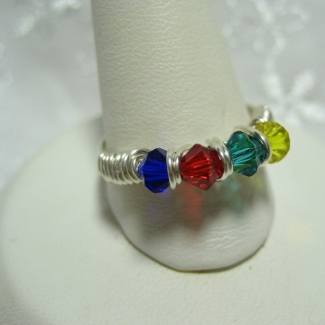 Autism Awareness Crystal Ring Made in Your Size
