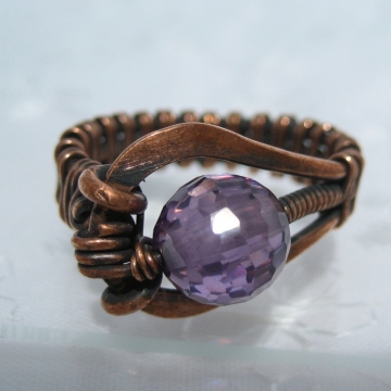 Controlled Chaos Ring - Purple Cubic Zirconia with Antiqued Copper - Many other colors available