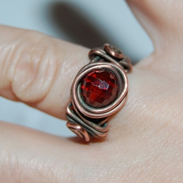 Cubic Zirconia and Copper Wire-Wrapped ~ Cherry Ring