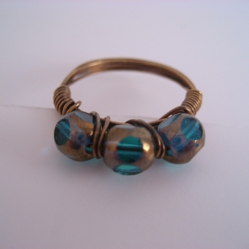 Czech Glass Dark Aqua and Antiqued Brass Triple Bead Ring