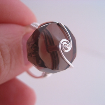 Smoky Quartz Wheel Swirl and Sterling Silver-Filled Ring