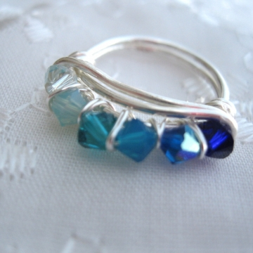 Color Shades Swarovski Crystal Ring ~ Many Colors Available