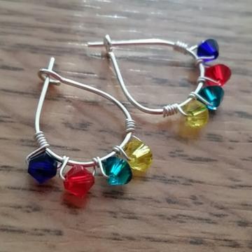 Autism Awareness Swarovski Crystal Mini-Hoop Earrings