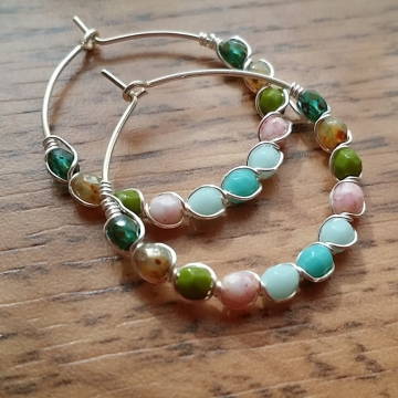 Multi Colored Czech Glass Beaded Hoop Earrings