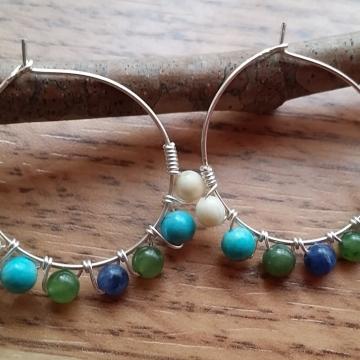 Gemstone Beaded Hoop Earrings