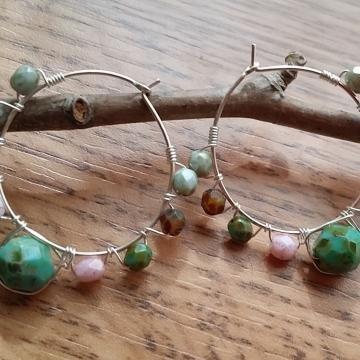 Happy Spring Czech Glass Beaded Hoop Earrings