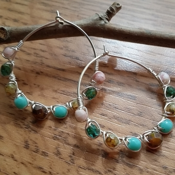 Multi Colored Czech Glass Beaded Hoop Earrings